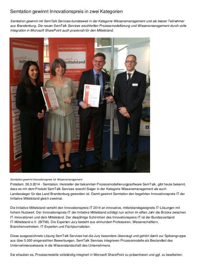Semtation gewinnt Innovationspreis in zwei Kategorien Semtation gewinnt mit SemTalk Services bundesweit in der Kategorie W...