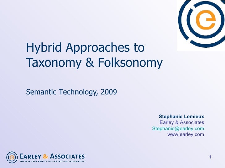 Hybrid Approaches to  Taxonomy & Folksonomy   Semantic T e chnology, 2009  Stephanie Lemieux Earley & Associates [email_ad...