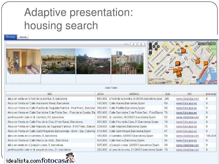 Adaptive presentation:housing search