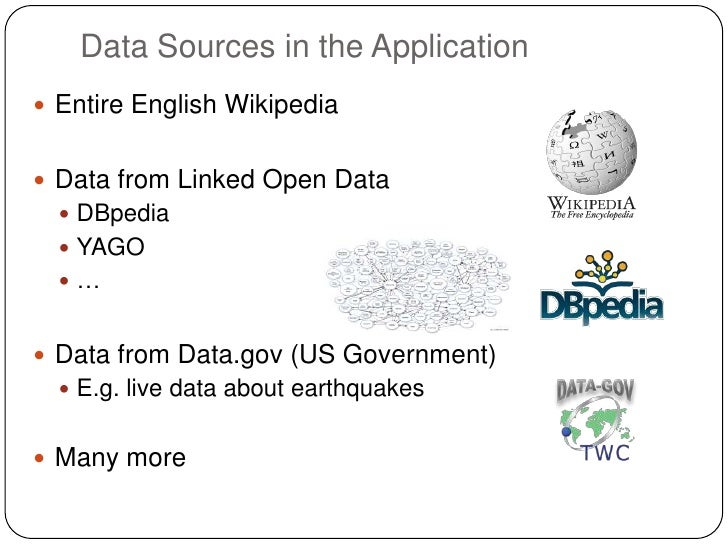 Data Sources in the Application Entire English Wikipedia Data from Linked Open Data   DBpedia   YAGO  … Data from Da...