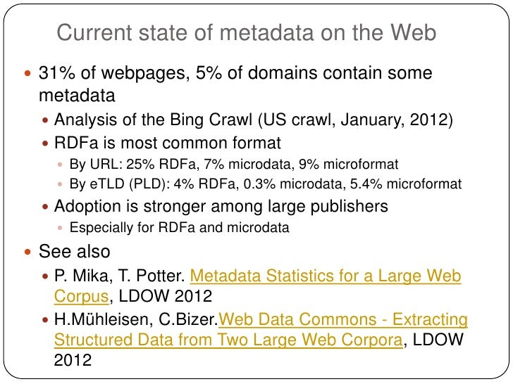 Current state of metadata on the Web 31% of webpages, 5% of domains contain some metadata   Analysis of the Bing Crawl (...