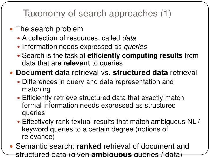 Taxonomy of search approaches (1) The search problem   A collection of resources, called data   Information needs expre...