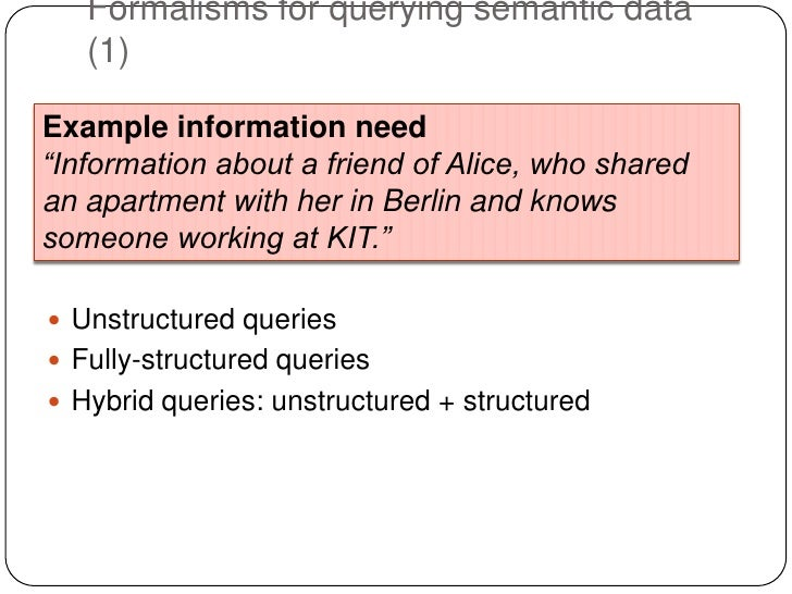 """Formalisms for querying semantic data   (1)Example information need""""Information about a friend of Alice, who sharedan apar..."""