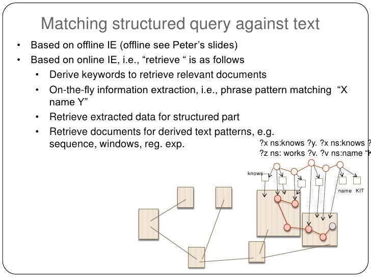 """Matching structured query against text• Based on offline IE (offline see Peter""""s slides)• Based on online IE, i.e., """"retri..."""