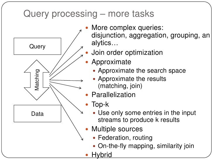 Query processing – more tasks              More complex queries:               disjunction, aggregation, grouping, an Que...