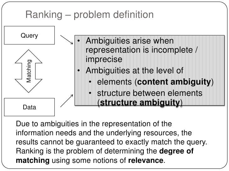 Ranking – problem definition Query                 • Ambiguities arise when                   representation is incomplete...