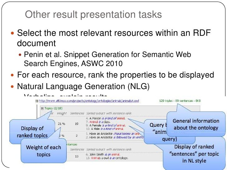 Other result presentation tasks Select the most relevant resources within an RDF document   Penin et al. Snippet Generat...