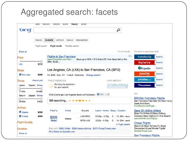 Aggregated search: facets
