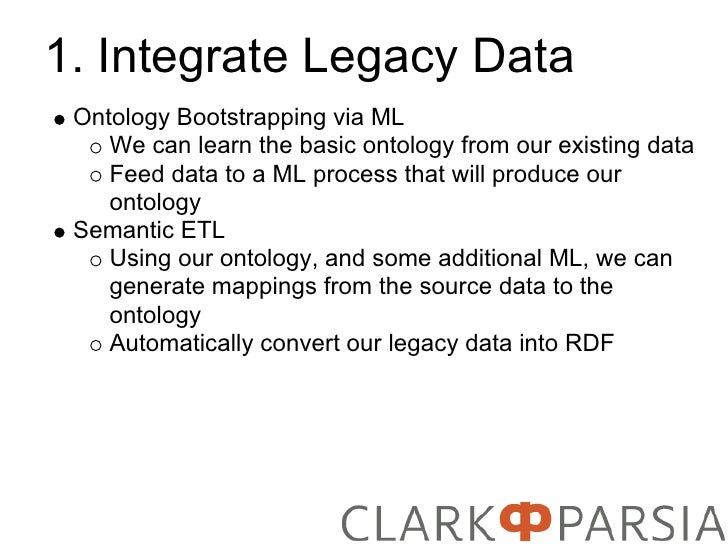 1. Integrate Legacy Data  Ontology Bootstrapping via ML     We can learn the basic ontology from our existing data     Fee...