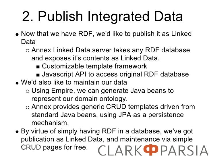 2. Publish Integrated Data Now that we have RDF, we'd like to publish it as Linked Data    Annex Linked Data server takes ...