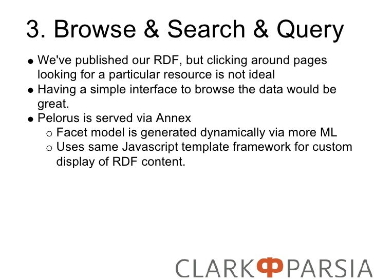 3. Browse & Search & Query We've published our RDF, but clicking around pages looking for a particular resource is not ide...