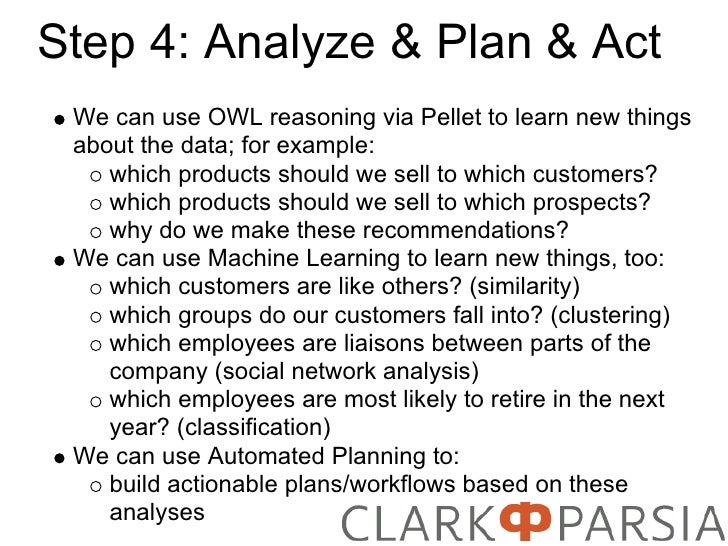Step 4: Analyze & Plan & Act  We can use OWL reasoning via Pellet to learn new things  about the data; for example:     wh...