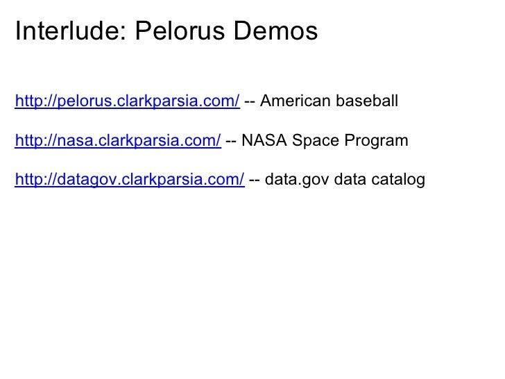 Interlude: Pelorus Demos  http://pelorus.clarkparsia.com/ -- American baseball  http://nasa.clarkparsia.com/ -- NASA Space...