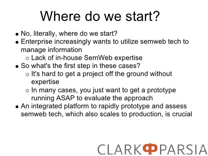Where do we start? No, literally, where do we start? Enterprise increasingly wants to utilize semweb tech to manage inform...