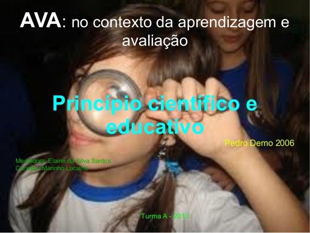 AVA: no contexto da aprendizagem e avaliação Princípio científico e educativo Pedro Demo 2006 Mediadora: Elaine da Silva S...
