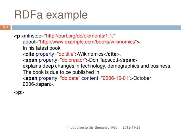 """RDFa example <p xmlns:dc=""""http://purl.org/dc/elements/1.1/"""" about=""""http://www.example.com/books/wikinomics""""> In his latest..."""