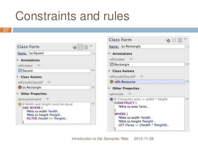 Constraints and rules 2012-11-28 37 Introduction to the Semantic Web