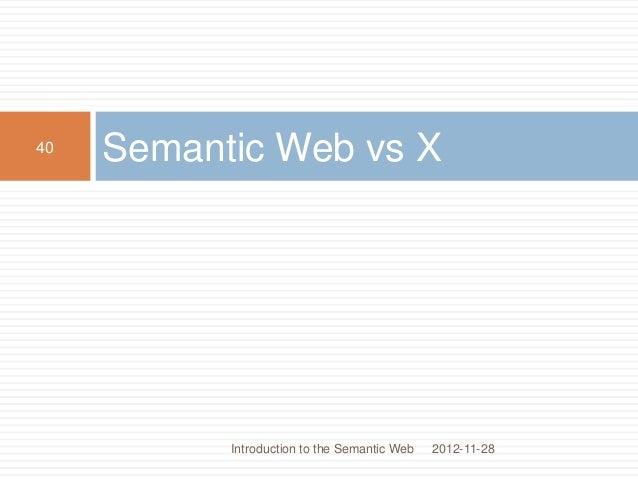 Semantic Web vs X 2012-11-28 40 Introduction to the Semantic Web