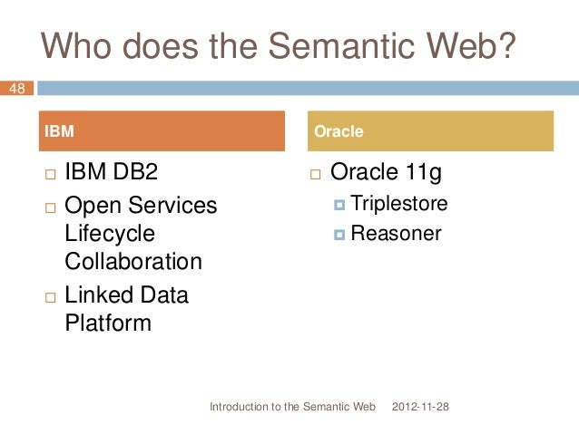 Who does the Semantic Web? 2012-11-28  IBM DB2  Open Services Lifecycle Collaboration  Linked Data Platform  Oracle 11...