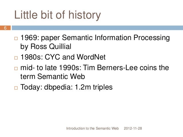Little bit of history  1969: paper Semantic Information Processing by Ross Quillial  1980s: CYC and WordNet  mid- to la...