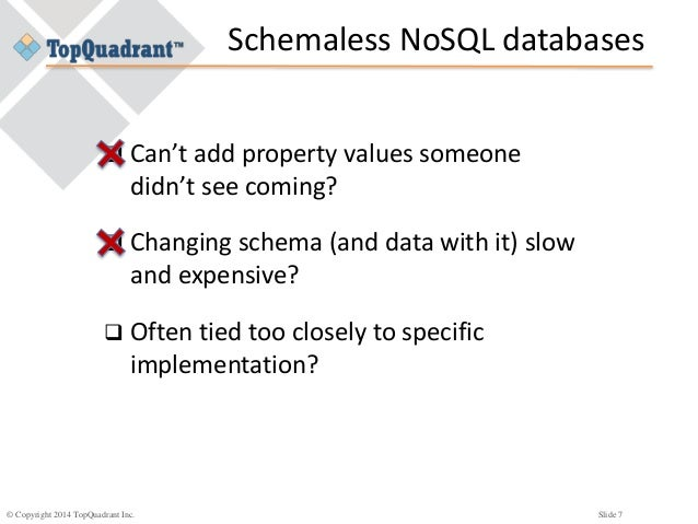 © Copyright 2014 TopQuadrant Inc. Slide 7 Schemaless NoSQL databases  Can't add property values someone didn't see coming...