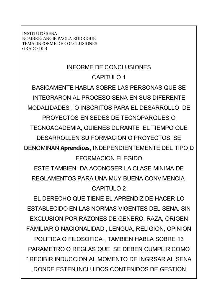 INSTITUTO SENANOMBRE: ANGIE PAOLA RODRIGUETEMA: INFORME DE CONCLUSIONESGRADO:10 B                 INFORME DE CONCLUSIONES ...