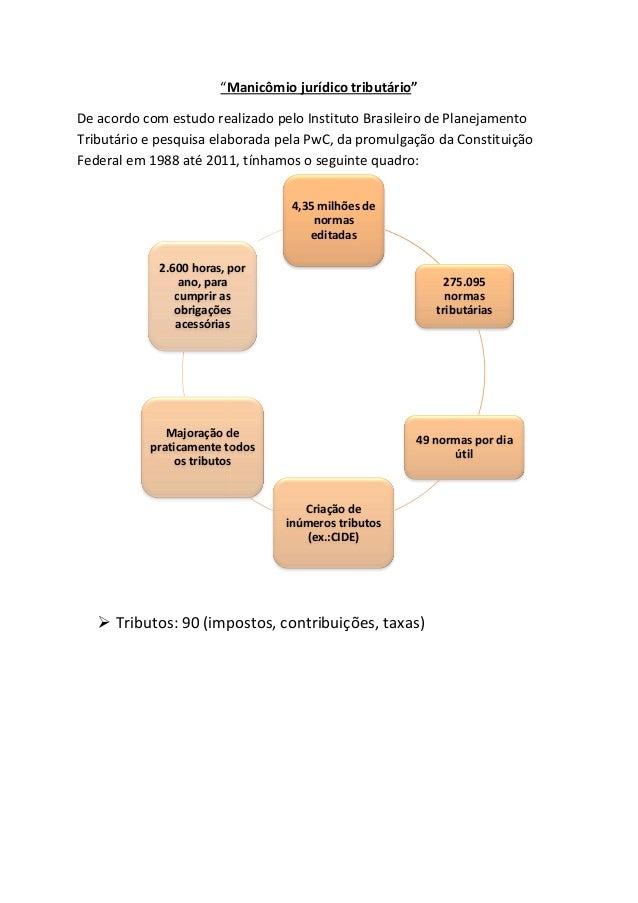 """""""Manicômio jurídico tributário  tributário""""  De acordo com estudo realizado pelo Instituto Brasileiro de Planejamento  Tri..."""