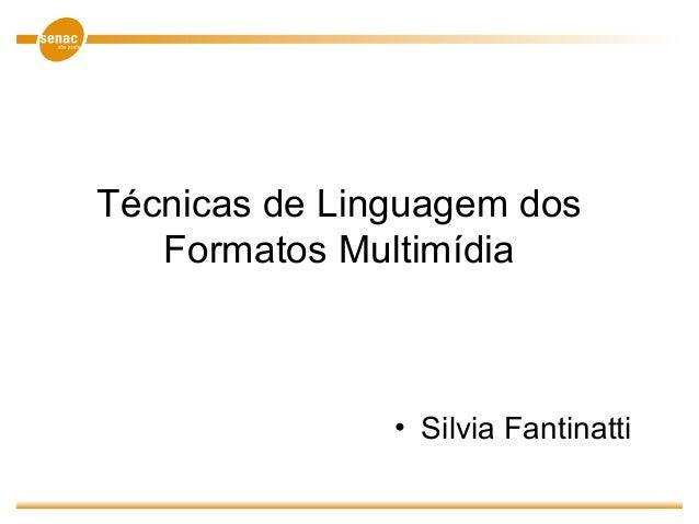 Técnicas de Linguagem dos Formatos Multimídia • Silvia Fantinatti