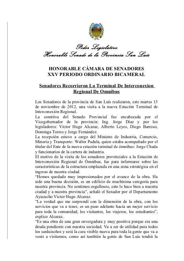 Poder Legislativo    Honorable Senado de la Provincia San Luís       HONORABLE CÁMARA DE SENADORES       XXV PERIODO ORDIN...