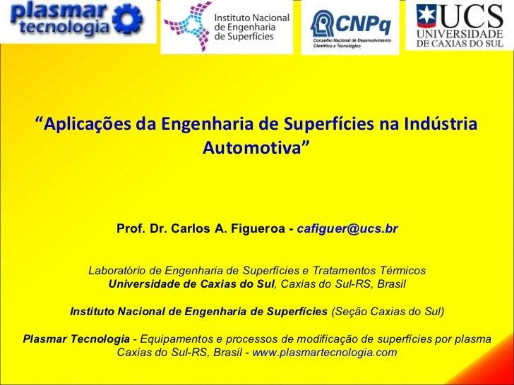""""""" Aplicações da Engenharia de Superfícies na Indústria Automotiva"""" Prof. Dr. Carlos A. Figueroa -   [email_address] Labora..."""