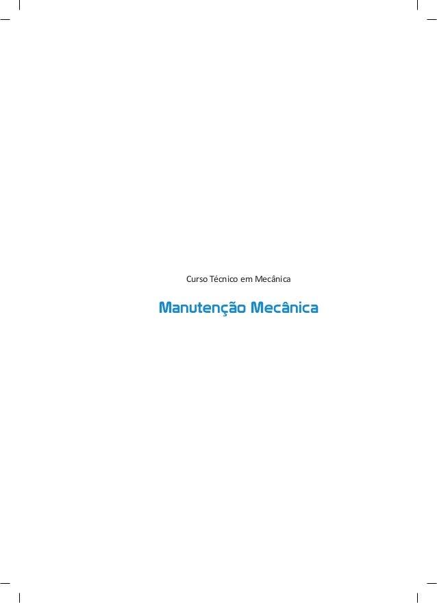 Curso Técnico em Mecânica  Manutenção Mecânica