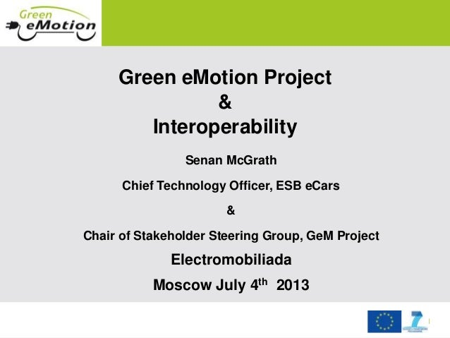 September 2011 Green eMotion Project & Interoperability Senan McGrath Chief Technology Officer, ESB eCars & Chair of Stake...