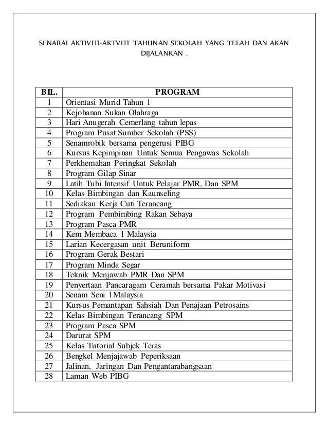 Senarai Aktiviti Tahunan Sekolah