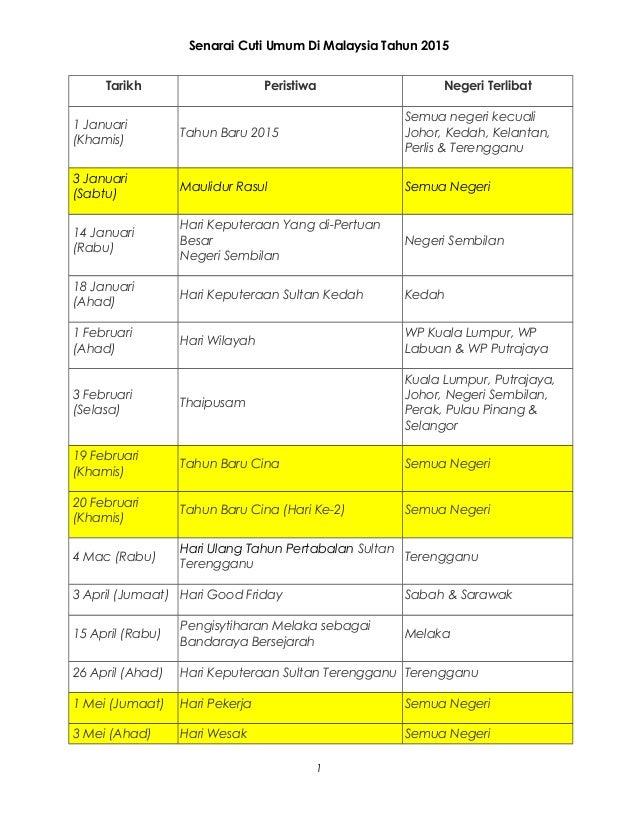 Senarai Cuti Umum Di Malaysia Tahun 2015  Tarikh Peristiwa Negeri Terlibat  1 Januari  (Khamis) Tahun Baru 2015  Semua neg...
