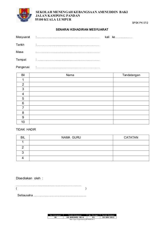 Senarai kehadiran mesyuarat (1)