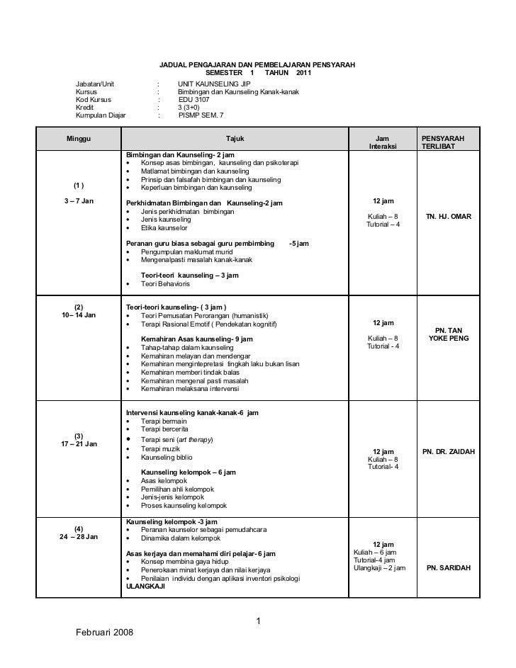 Senarai Pembahagian Tugas Mengajar Edu 3107