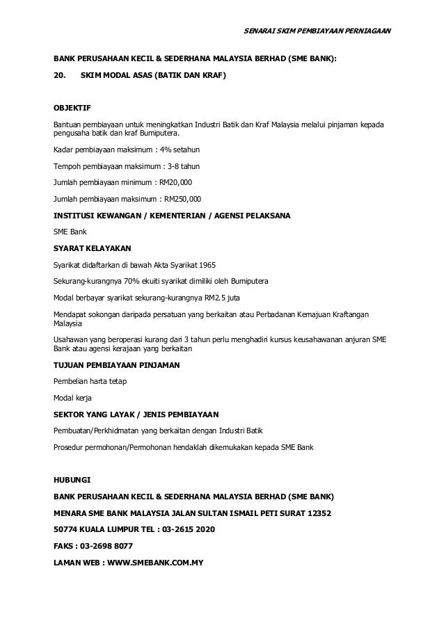 Senarai Pinjaman Perniagaan Bumiputra