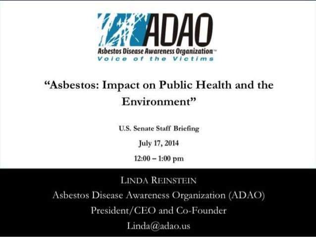 """ADAO Senate Staff Briefing: """"Asbestos: Impact on Public Health and the Environment"""" (2014)"""
