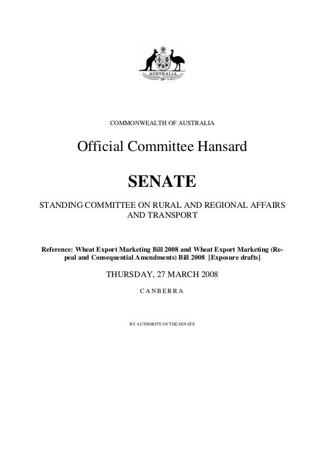 COMMONWEALTH OF AUSTRALIA           Official Committee Hansard                          SENATESTANDING COMMITTEE ON RURAL ...