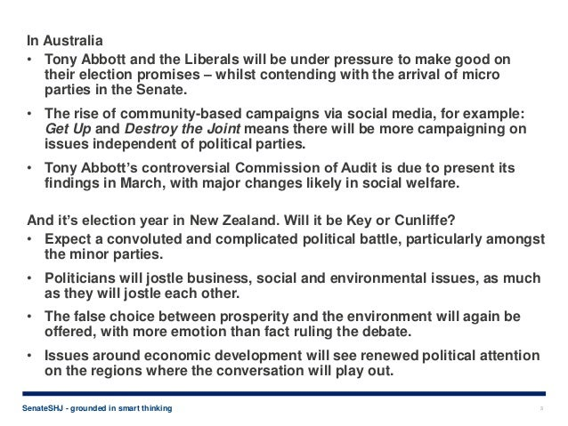 Politics, privacy and morality - top trends for 2014, by communications firm SenateSHJ Slide 3