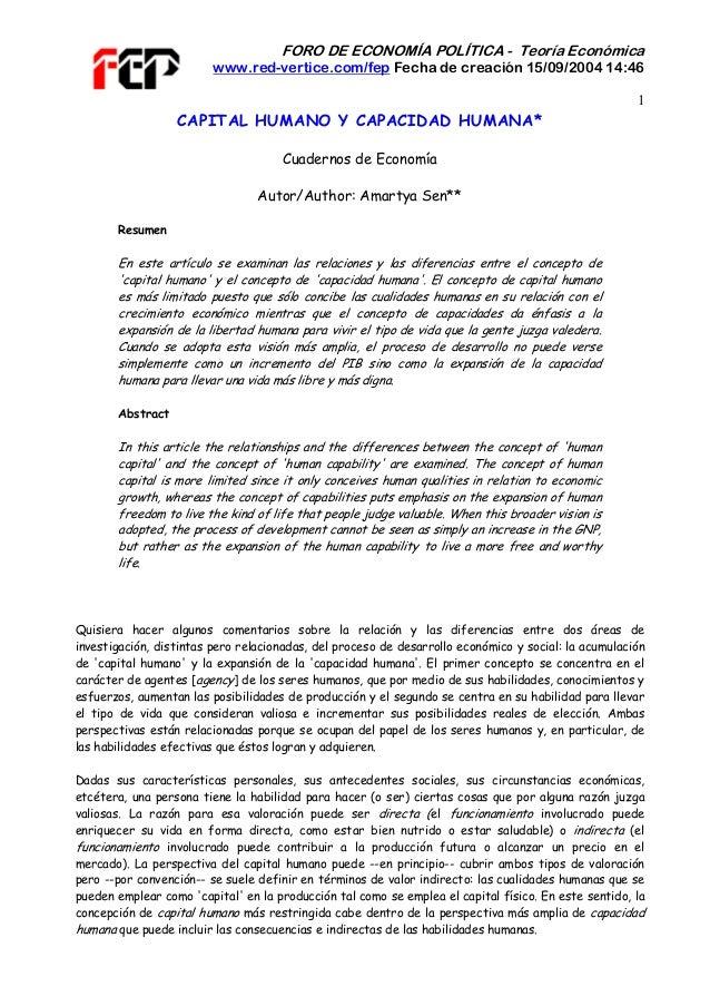 FORO DE ECONOMÍA POLÍTICA - Teoría Económica www.red-vertice.com/fep Fecha de creación 15/09/2004 14:46 1 CAPITAL HUMANO Y...