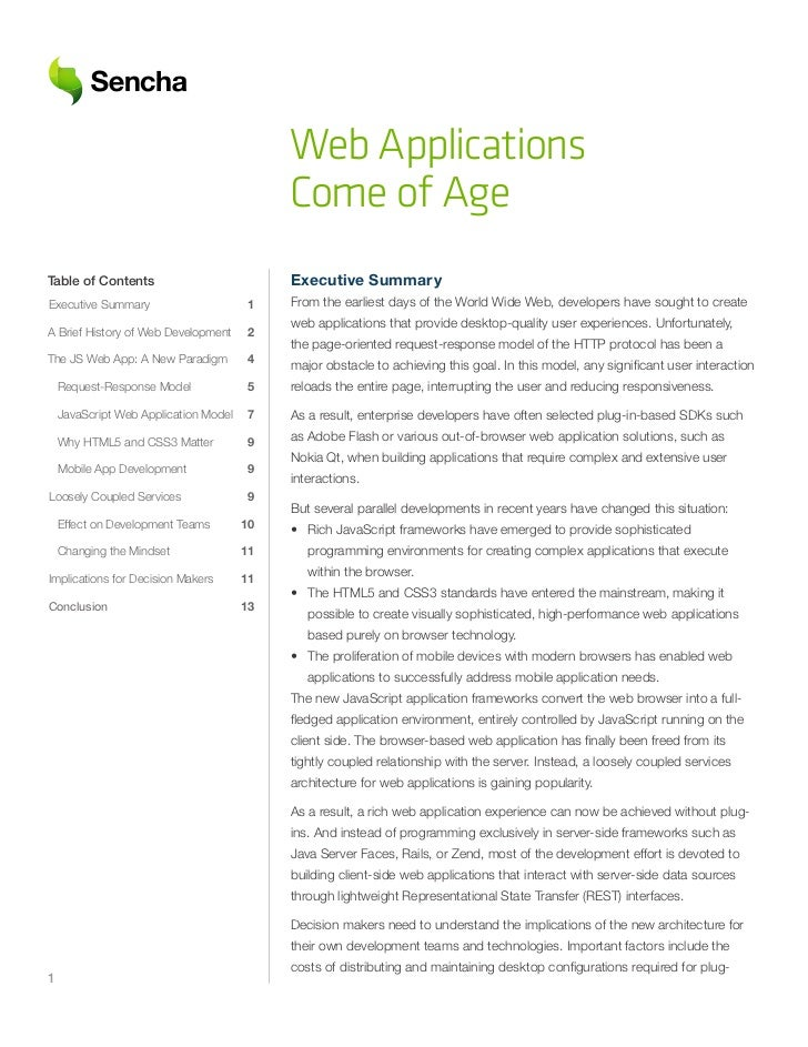 Web Applications                                             Come of AgeTable of Contents                            Execu...