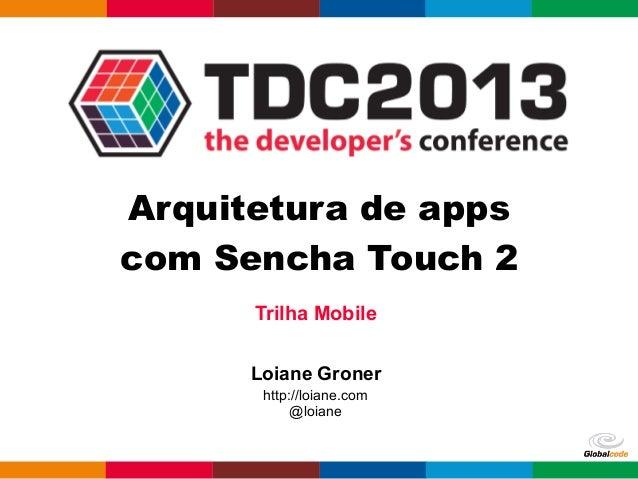 Trilha Mobile Loiane Groner http://loiane.com @loiane Arquitetura de apps com Sencha Touch 2
