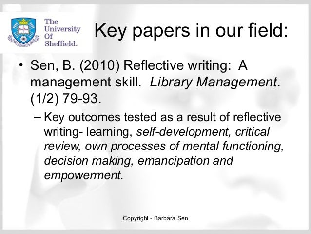 Reflection and improving information literacy practice. Sen