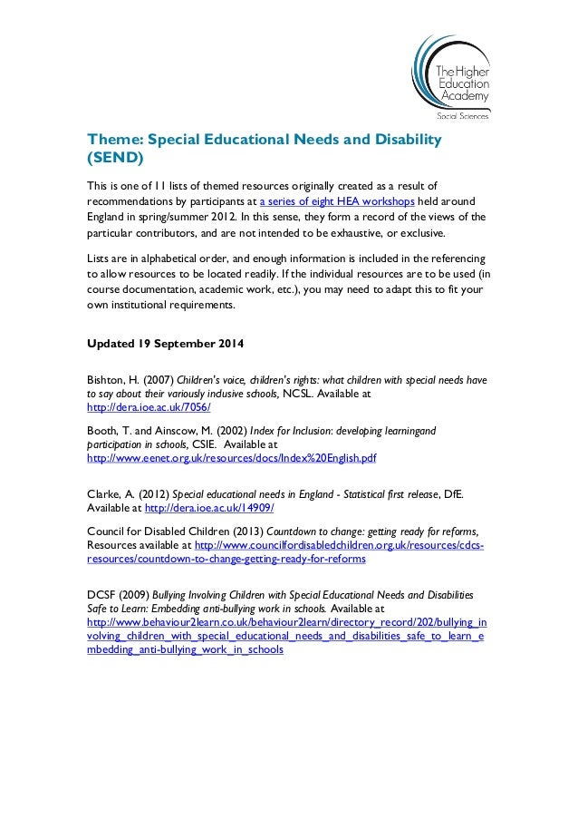 Would Special Education Rights Be Safe >> Special Educational Needs And Disability Initial Teacher Education Re