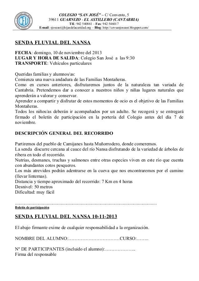 """COLEGIO """"SAN JOSÉ"""" – C/ Convento, 5 39611 GUARNIZO - EL ASTILLERO (CANTABRIA) Tlf.: 942 540861 – Fax: 942 546017 E-mail: s..."""