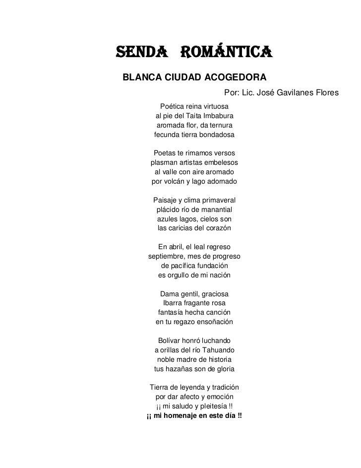 SENDA ROMÁNTICABLANCA CIUDAD ACOGEDORA                           Por: Lic. José Gavilanes Flores        Poética reina virt...