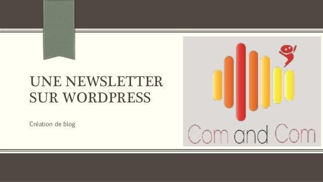 UNE NEWSLETTER SUR WORDPRESS Création de blog