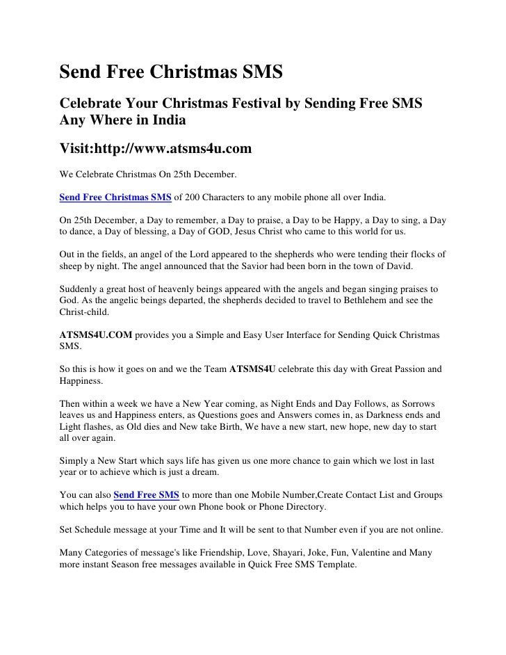Send Free Christmas SMS<br />Celebrate Your Christmas Festival by Sending Free SMS Any Where in India<br />Visit:http://ww...