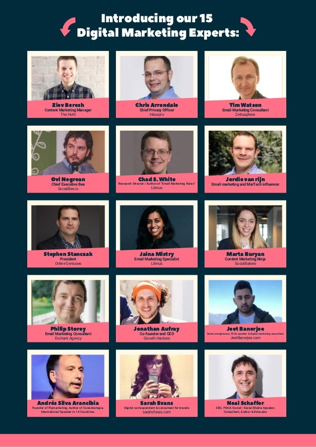 Introducing our 15 Digital Marketing Experts: Ziev Beresh Content Marketing Manager The Hoth Chris Arrendale Chief Privacy...